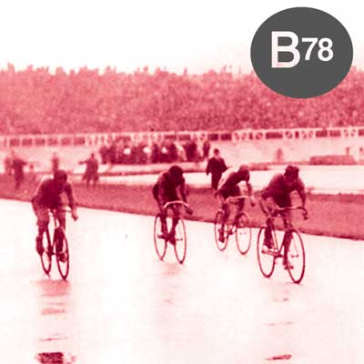 The B78 logo on top of an old school cycling race.