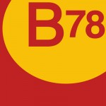 B78 logo closeup orange yellow