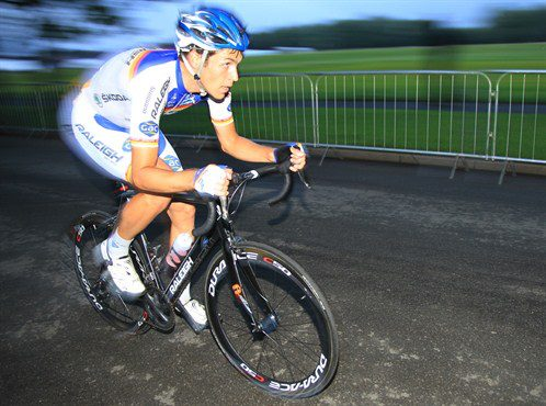 Jamie Sparling cycling on the pavement
