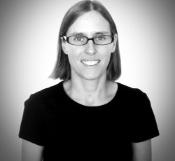 Black and white picture of Coach Kristina Rody