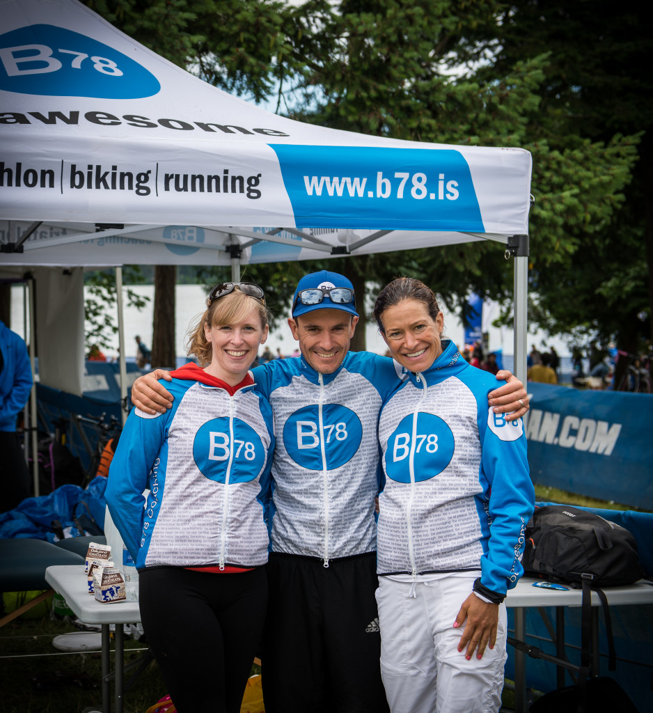 Jasper, Christine and Steph smiling at the end of the Ironman 70.3 Victoria