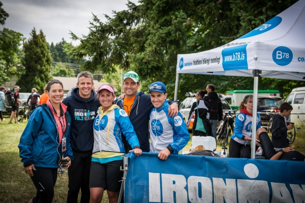 Group of athletes at the Ironman 70.3 triathlon in Victoria