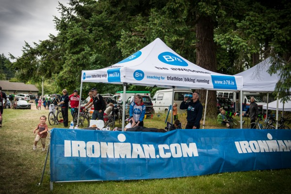 The B78 tent shelters some triathletes at the Ironman 70.3 triathlon in Victoria