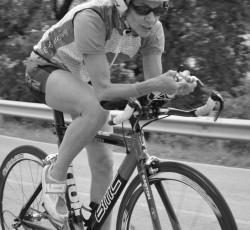 Sue Edney cycling in B78 cycling gear