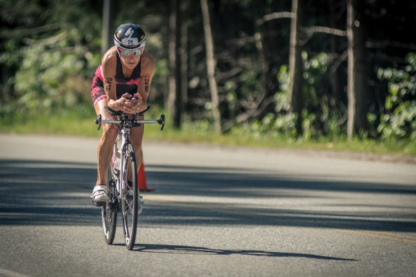 Christine Fletcher cycling in ironman canada