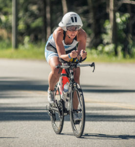 Steph Corker cycling in ironman canada 2014