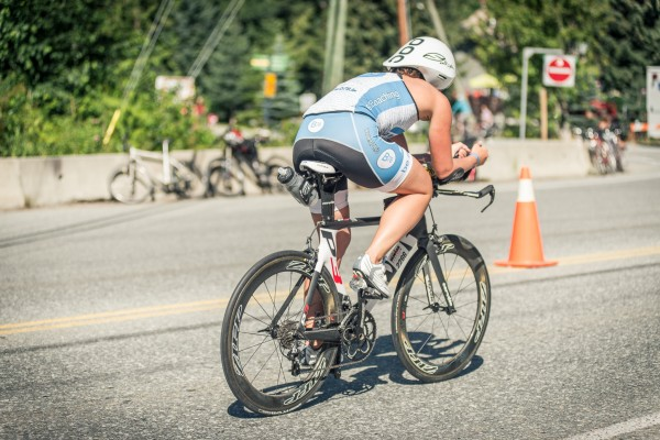 Steph Corker showing off the b78 cycling gear at ironman Canada 2014