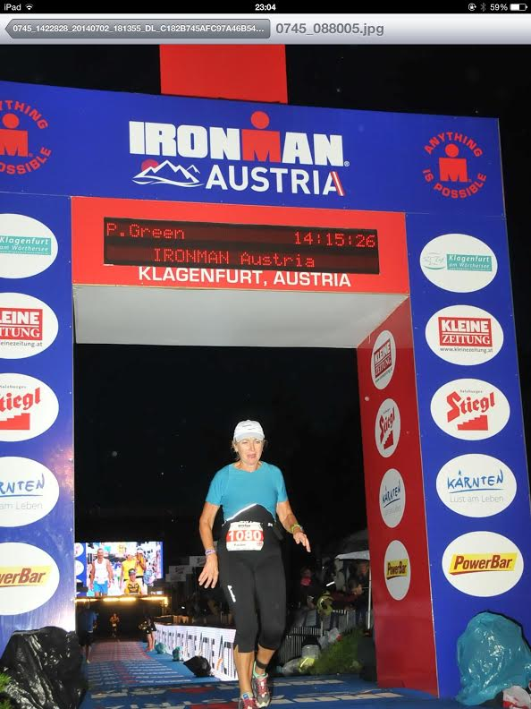 Pauline Green finishing Ironman in Australia
