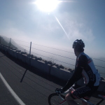 Man cycling on the road in California