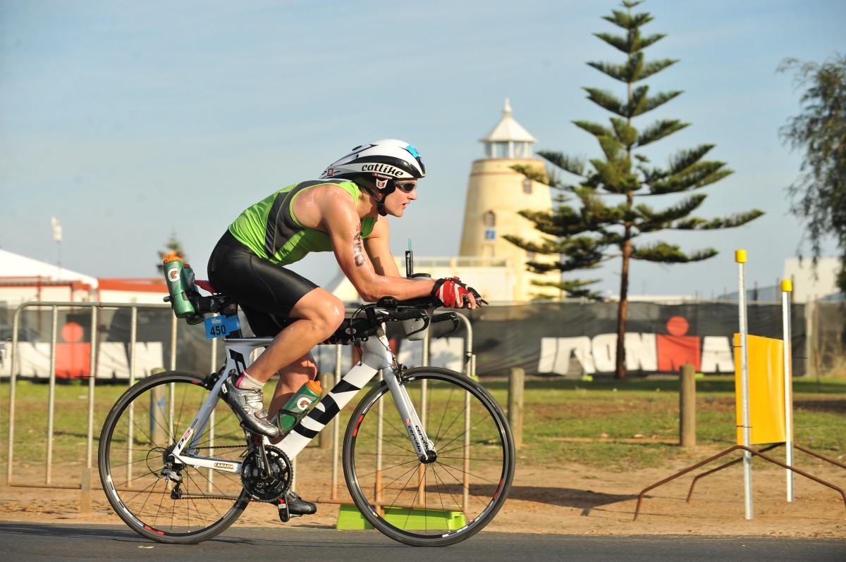 Andrew Schouten cycling in an event