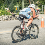 Steph Corker riding in Ironman Canada 2014