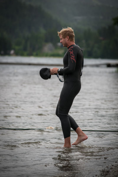 Mike Grant getting ready to swim in Alta Lake