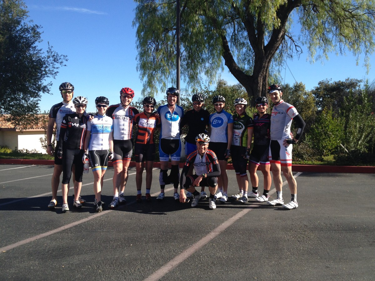 Group of cyclists in California
