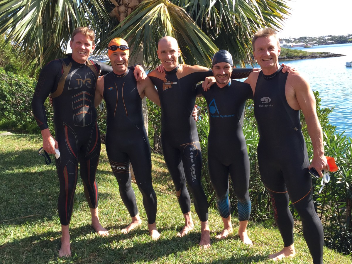 Jasper Blake, Mike Neill and friends excited to go for a swim in bermuda at the bermuda triathlon training camp