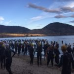Swimmers getting ready for the swim at Penticton