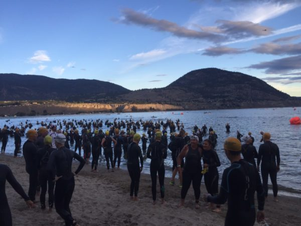 Swimmers getting ready for the swim at Challenge Penticton Triathlon