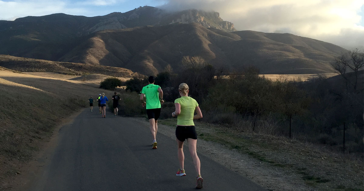 A team of runners takes a turn on the road coming down a hill.