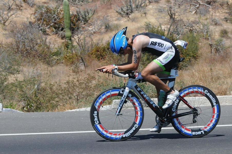 Trek rider racing at a triathlon