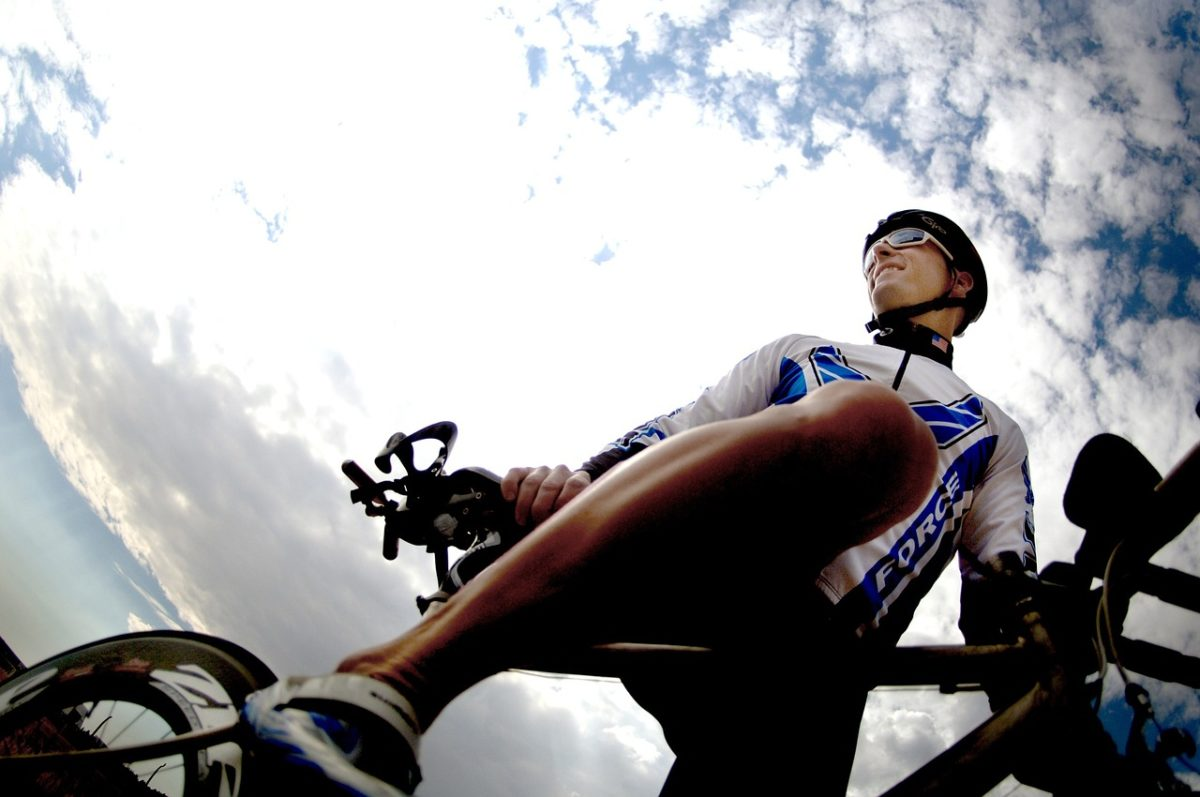 Cyclist ready to start a long ride